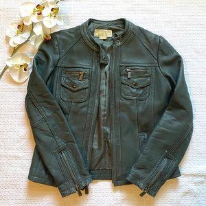 Michael Kors Teal Leather Jacket